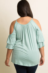 Mint Open Shoulder Layered Ruffle Plus Top