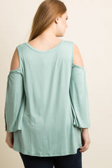 Mint Green Cold Shoulder Slit Sleeve Plus Top