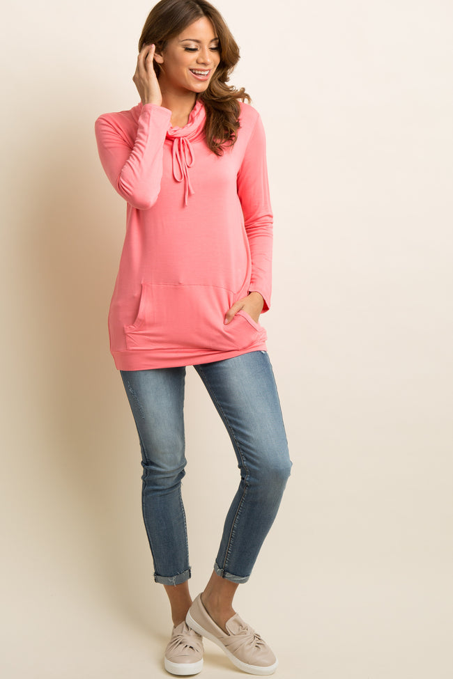 Pink Drawstring Tie Funnel Neck Top