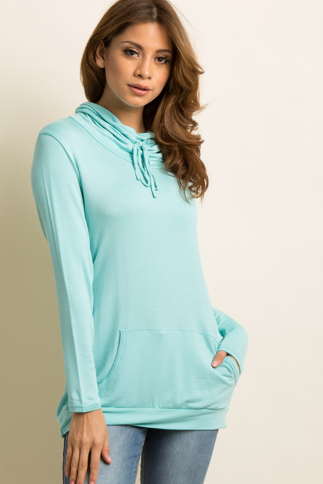 Mint Green Drawstring Tie Funnel Neck Top