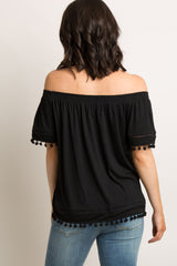 Black Solid Crochet Pom Trim Off Shoulder Top