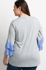 Grey Blue Striped Ruffle Sleeve Plus Top