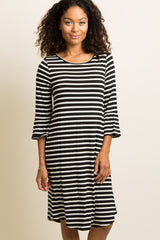 Black Striped Ruffle Sleeve Dress