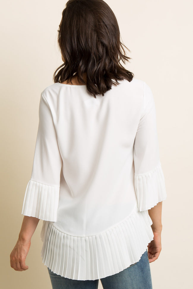 Ivory Solid Chiffon Pleated Trim Blouse