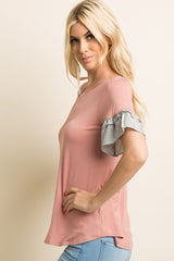 Pink Solid Layered Ruffle Striped Sleeve Top