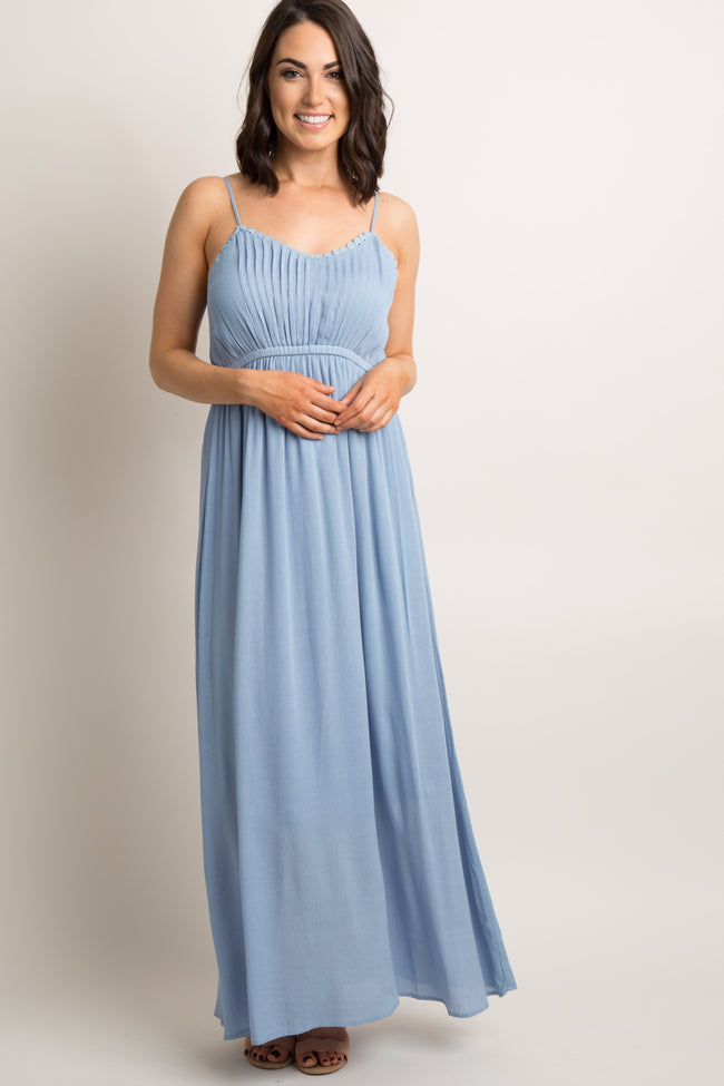 Light Blue Crochet Trim Cami Maternity Maxi Dress