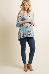 Blue Floral Crushed Velvet Off Shoulder Maternity Top