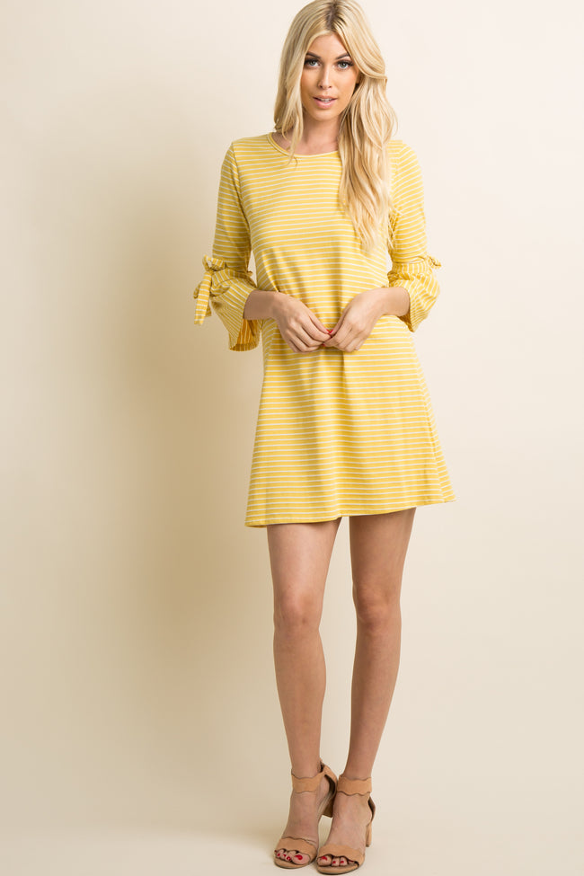 Yellow Striped Ruffle Sleeve Tie Maternity Shift Dress