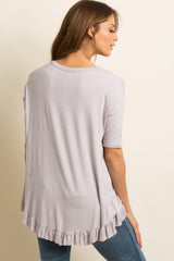 Grey Ruffle Trim Back Dolman Sleeve Top