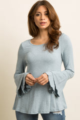 Light Blue Heathered Layered Ruffle Sleeve Top