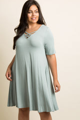 Mint Crisscross Accent Plus Maternity Swing Dress