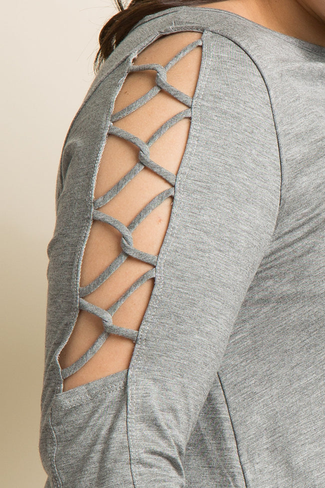 Heather Grey Crisscross Open Shoulder Plus Top