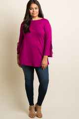 Magenta Solid Sleeve Tie Plus Top