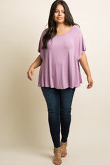 Lavender Butterfly Sleeve Plus Top