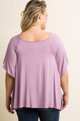 Lavender Butterfly Sleeve Plus Maternity Top