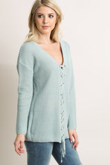 Mint Green Solid Lace-Up Knit Sweater