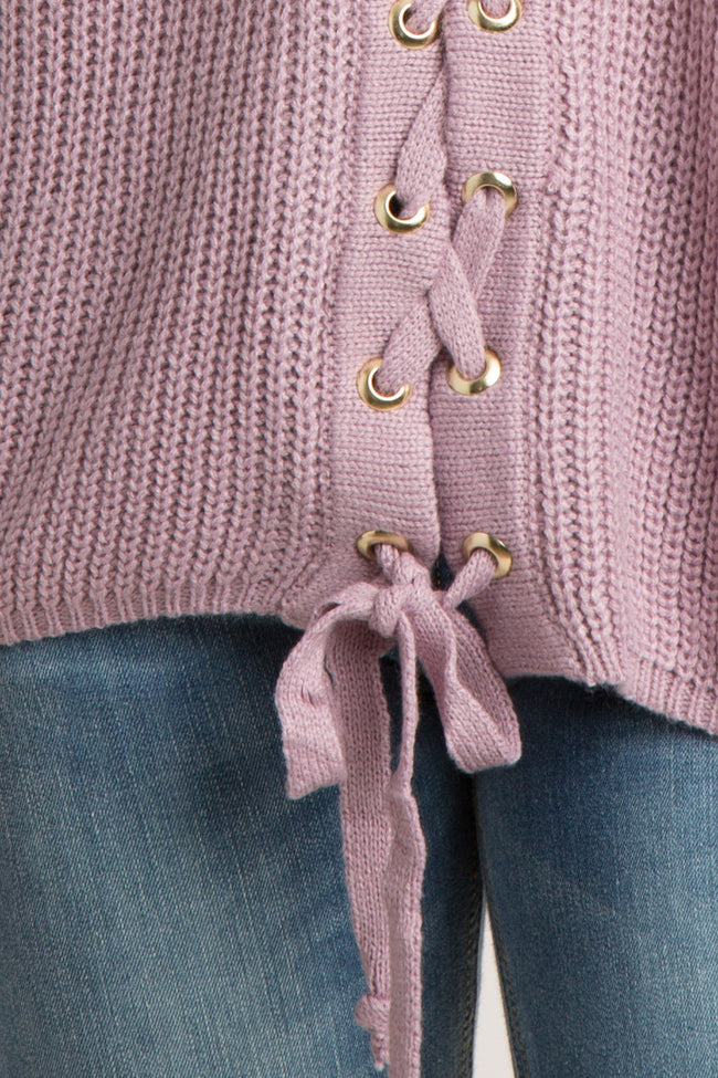 Lavender Solid Lace-Up Knit Sweater