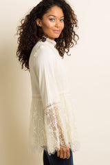 Ivory Scalloped Lace Crochet Accent Top