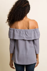 Lilac Grey Off Shoulder Ruffle Trim Tie Front Top