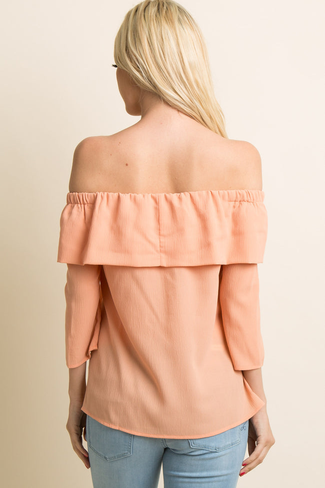 Peach Off Shoulder Ruffle Trim Tie Front Top