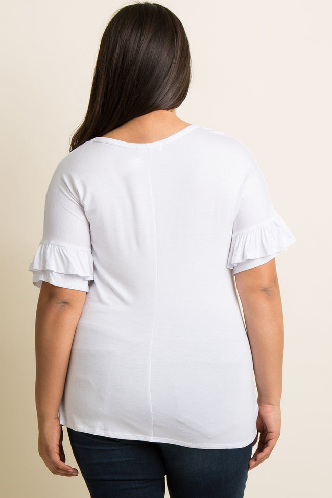 White Solid Ruffle Sleeve Plus Top