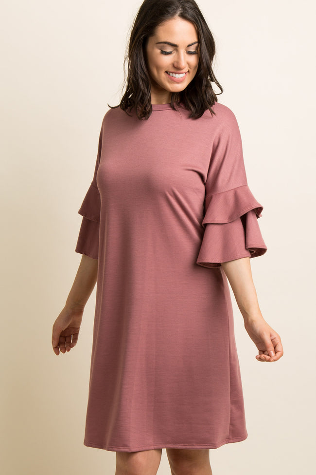 Mauve Layered Ruffle Sleeve Shift Dress