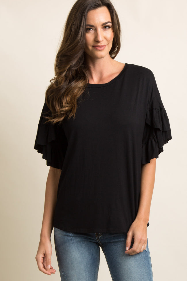 Black Solid Layered Ruffle Sleeve Maternity Top