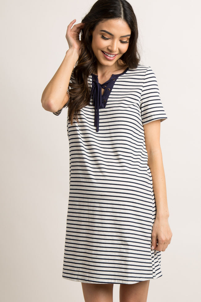 Navy Blue Striped Lace-Up Front Maternity Dress