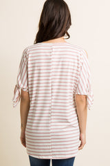 Mauve Striped Cutout Sleeve Tie Maternity Top