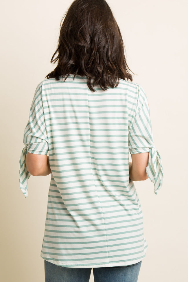 Mint Green Striped Cutout Sleeve Tie Top