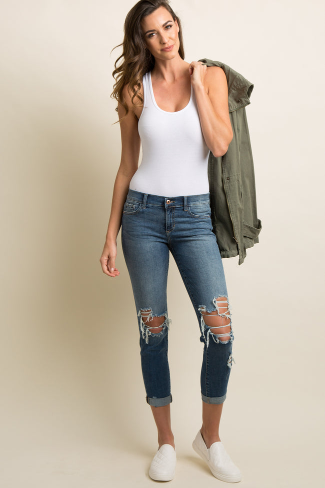 Blue Destroyed Cuffed Boyfriend Jeans