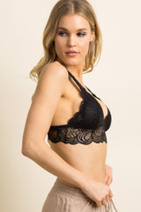 Black Solid Scalloped Lace Bralette