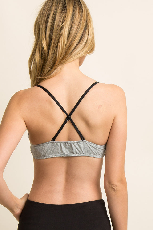 Grey Heathered Cross Back Triangle Bralette
