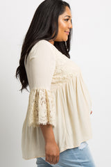 Ivory Lace Accent Tassel Tie Babydoll Plus Maternity Top