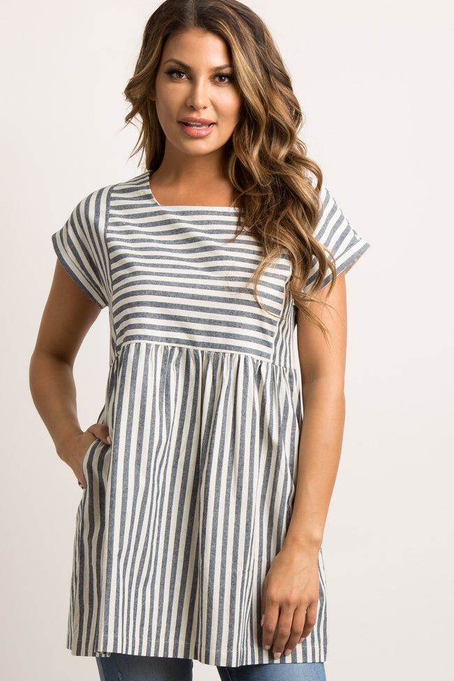 Navy Blue Striped Pleated Babydoll Dress/Tunic