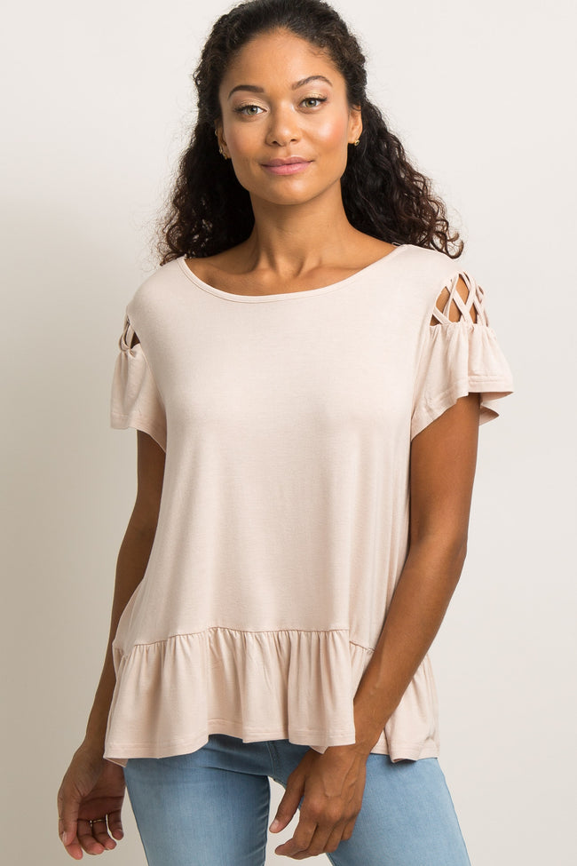 Light Pink Solid Cutout Interlaced Top