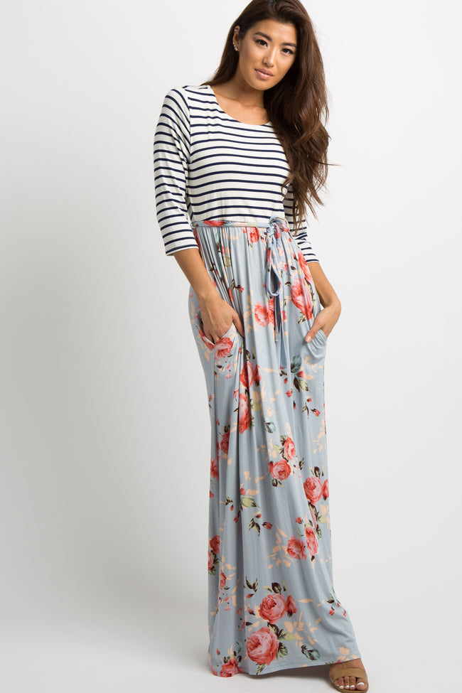 PinkBlush Blue Striped Colorblock Floral Maxi Dress