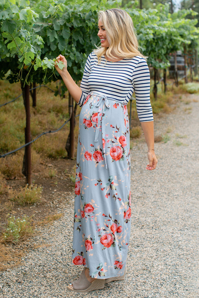PinkBlush Blue Striped Colorblock Floral Maternity Maxi Dress