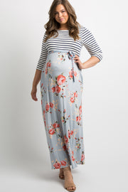 Blue Striped Colorblock Floral Plus Maternity Maxi Dress