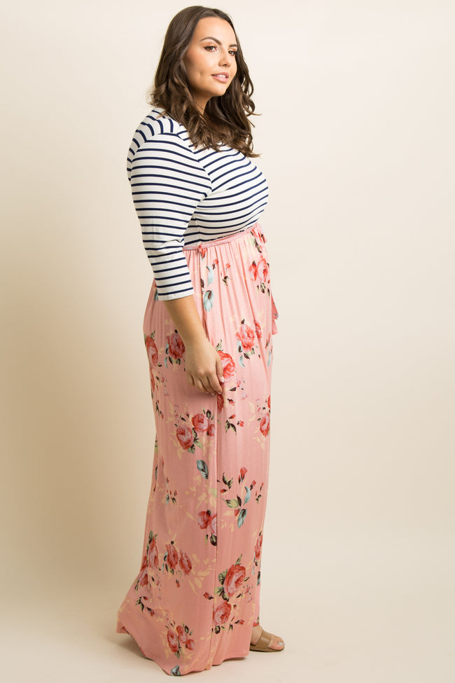Peach Striped Colorblock Floral Plus Maxi Dress