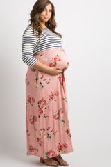 Peach Striped Colorblock Floral Plus Maternity Maxi Dress