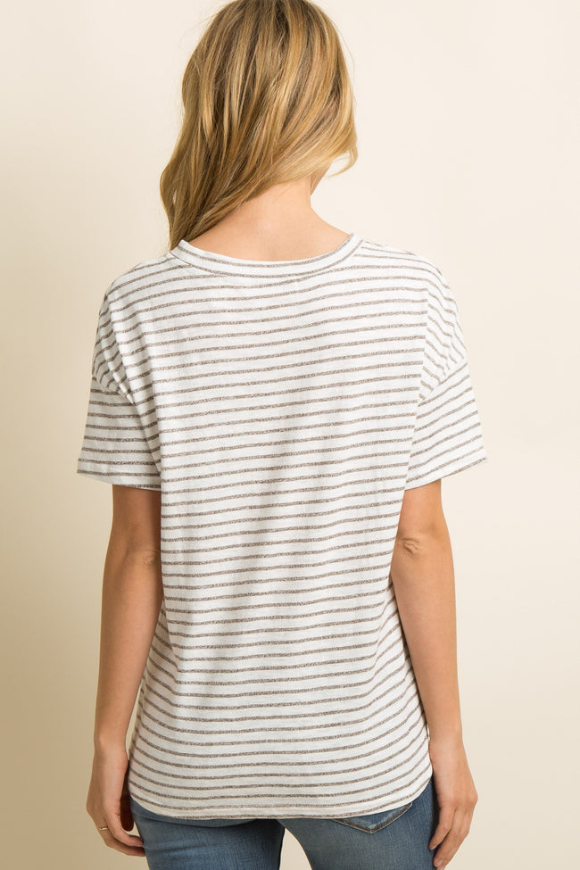 Mocha Heathered Striped Dolman Sleeve Top