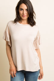 Light Pink Solid Mesh Ruffle Sleeve Top