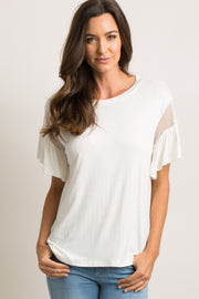 Ivory Ruffle Trim Mesh Sleeve Top
