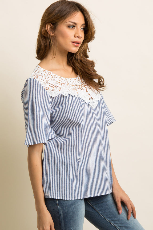 Navy Blue Pinstriped Crochet Neckline Blouse
