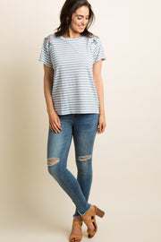 Blue Striped Crisscross Cutout Shoulder Top