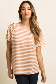 Peach Striped Crisscross Cutout Shoulder Top