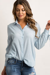Blue Pinstriped Button-Up Lace-Up Open Sleeve Top