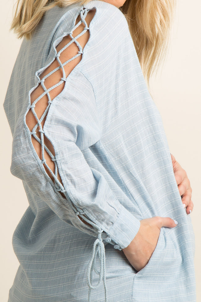 Blue Pinstriped Button-Up Lace-Up Open Sleeve Maternity Top