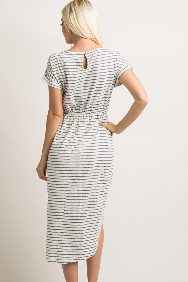 Ivory Striped Wrap Midi Dress